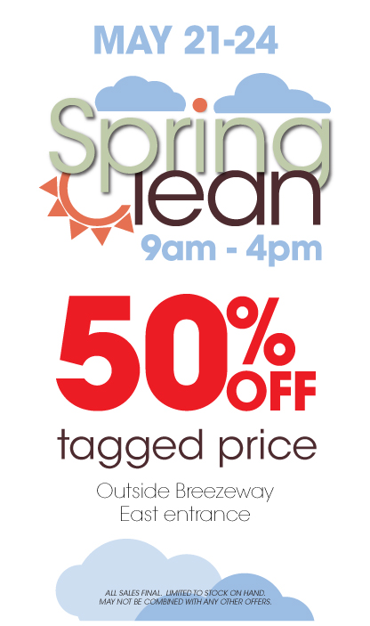 Spring Clean Sale. Save an additional 50% off all sale items from 5/21/13-5/24/13. Located in the MU breezeway from 9AM-4PM.