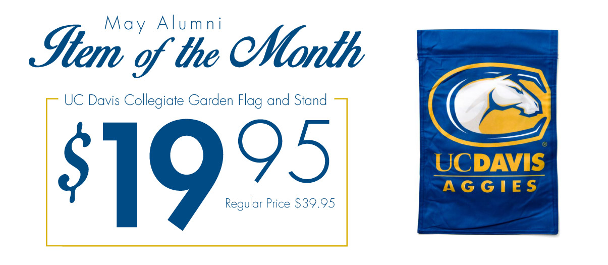 UC Davis Alumni Item of the Month for May 2015. UC Davis Lawn Flag