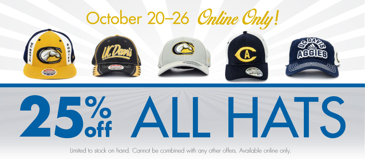 Save 25% off hats all this week online only!