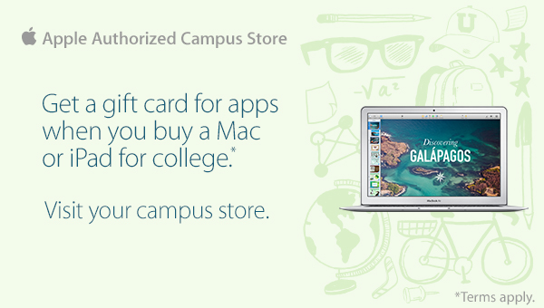 Apple Back to School Promo. Receive a $100 iTunes gift card with the purchase of a qualifying Apple computer.