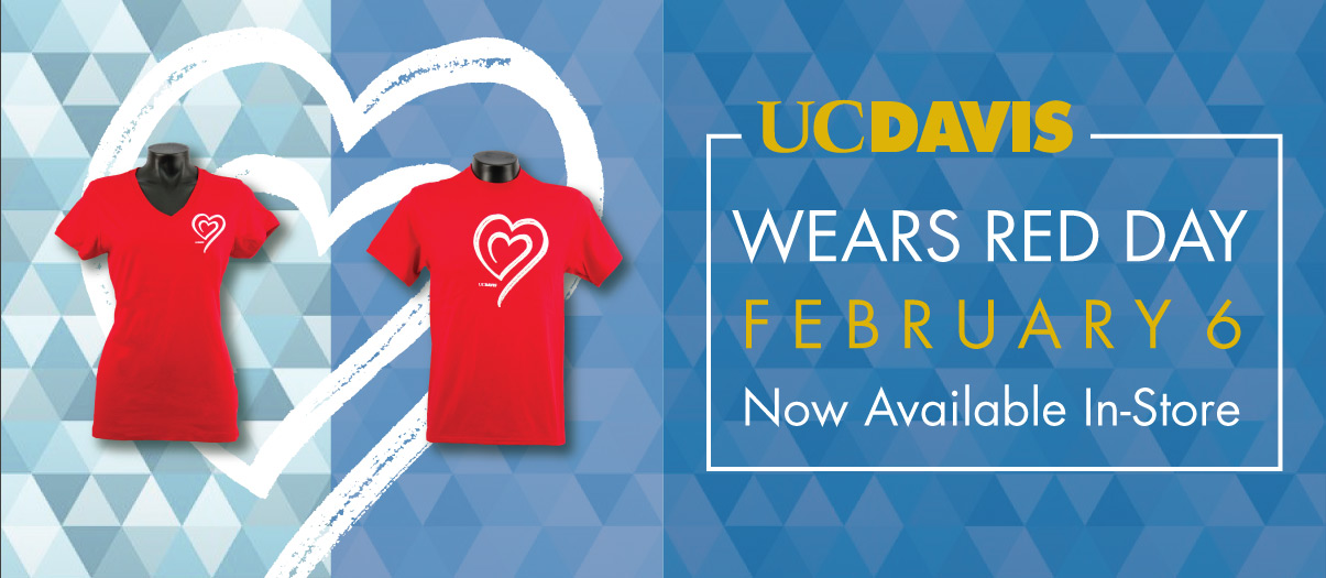 Help celebrate UC Davis Wears Red Day buy purchasing a t-shirt from the UC Davis Stores. Available in store now!