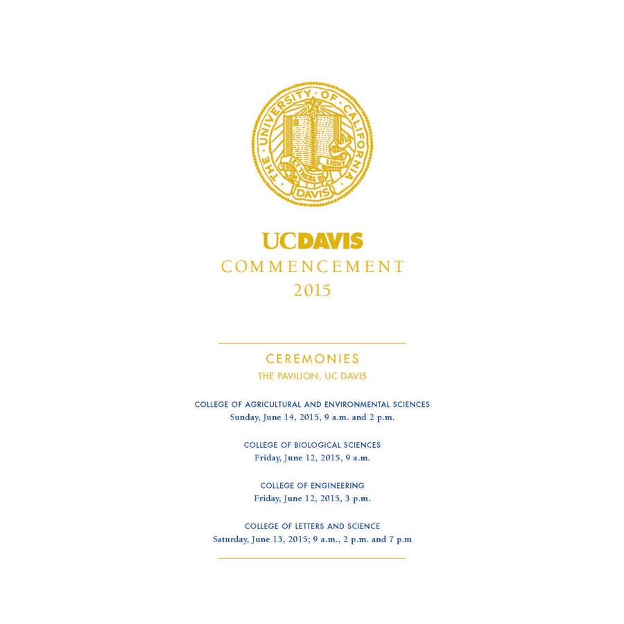 UC Davis 2017 Commencement Program Pre-Order