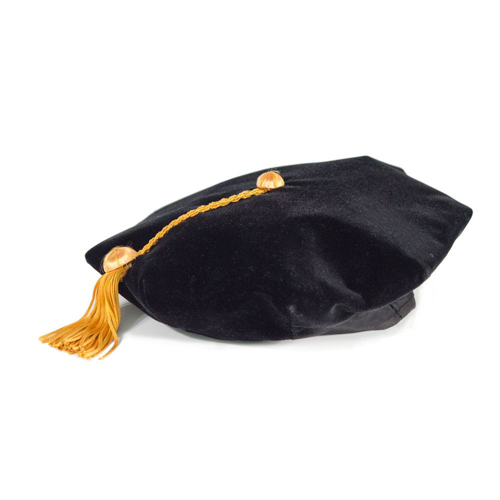 Black Tam with Gold Silk Doctoral Tassel