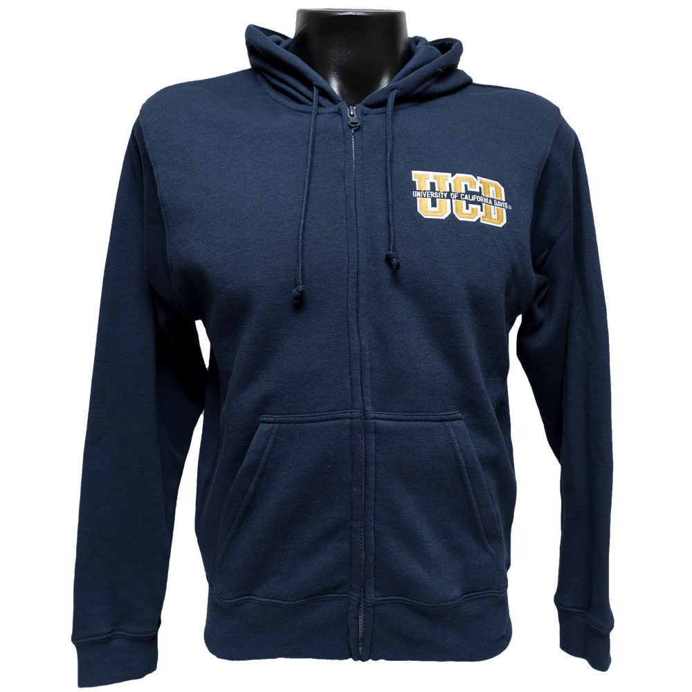 UC Davis Full Zip Navy Splitfont