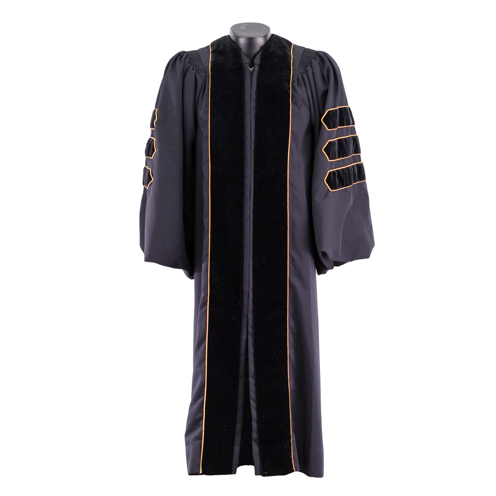 Black Classic Doctoral Gown Set with Gold Silk Tassel