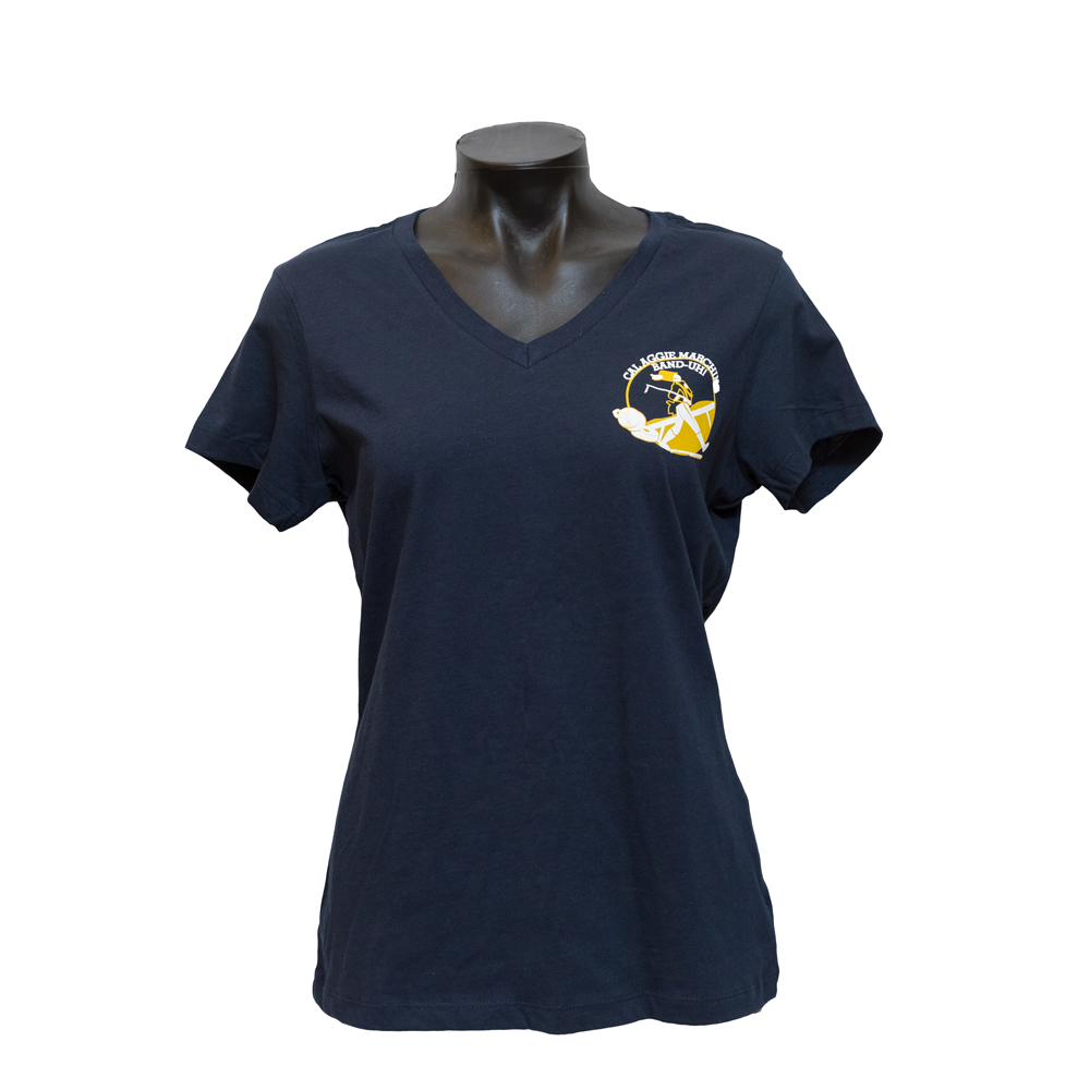 UC Davis T-shirt Band-uh! V-neck Navy Women's