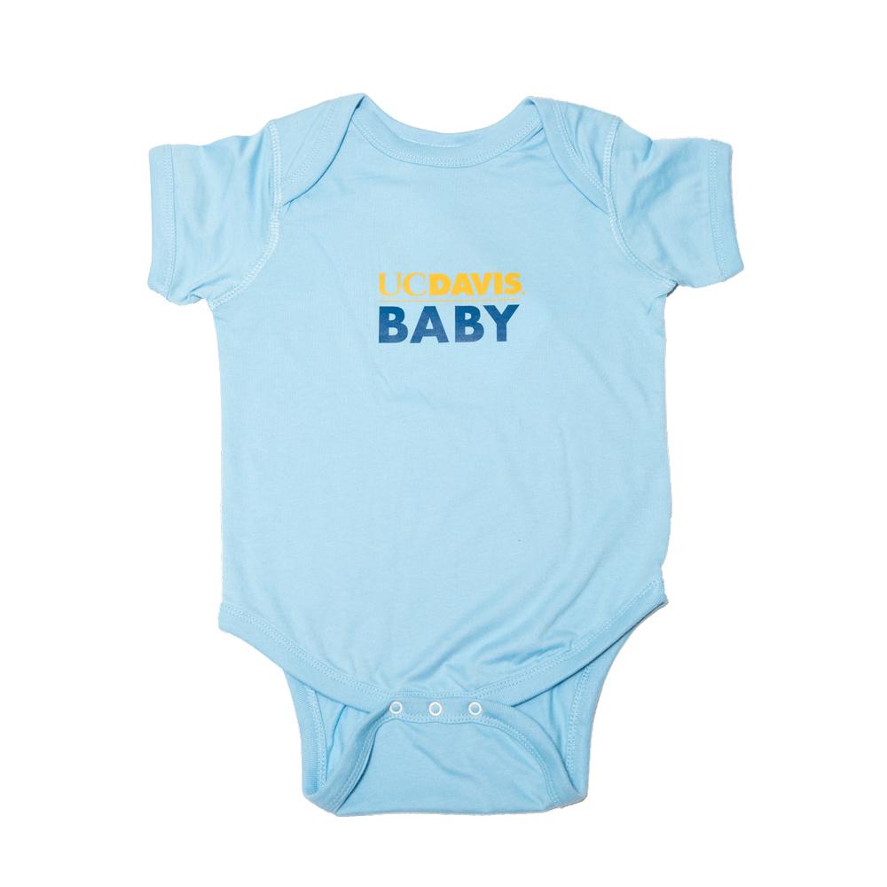 UC Davis T-shirt Children's Infant AO Onesie Baby Light Blue