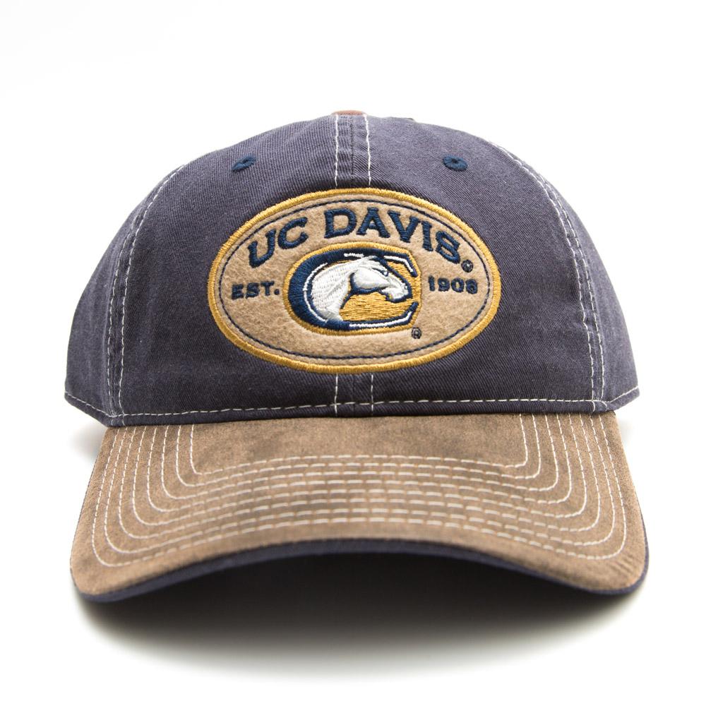 UC Davis Hat Stitched Navy Vintage