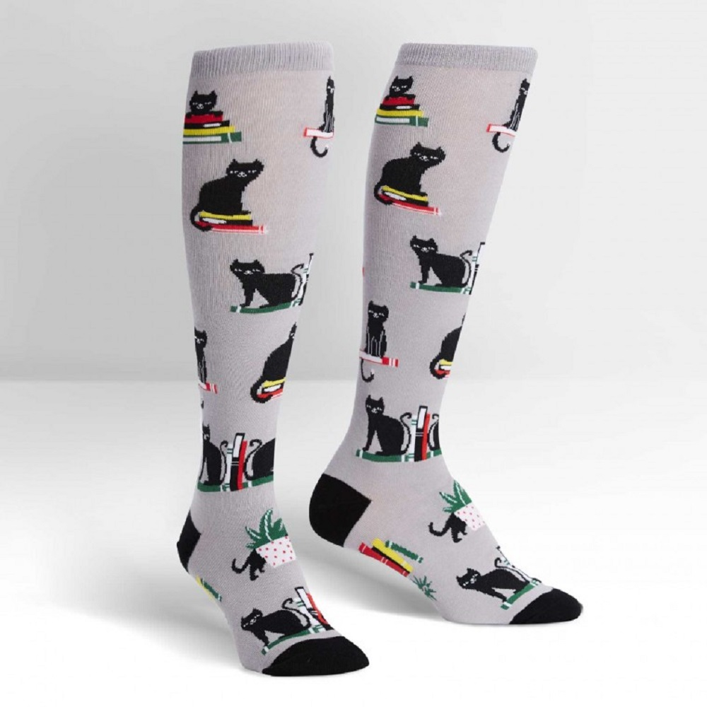 Sock It To Me Booked For Meow Knee High Socks