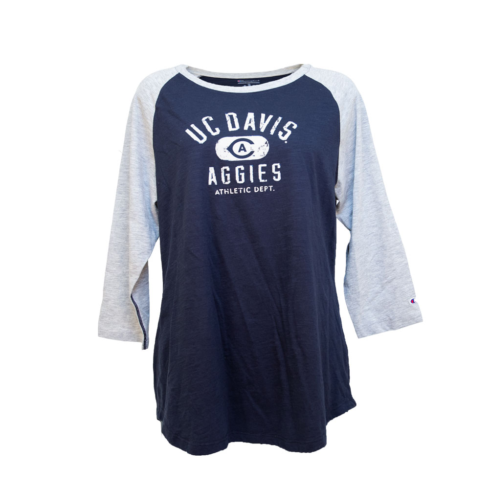 Champion® Women's 3/4 Sleeve UC Davis T-Shirt Navy