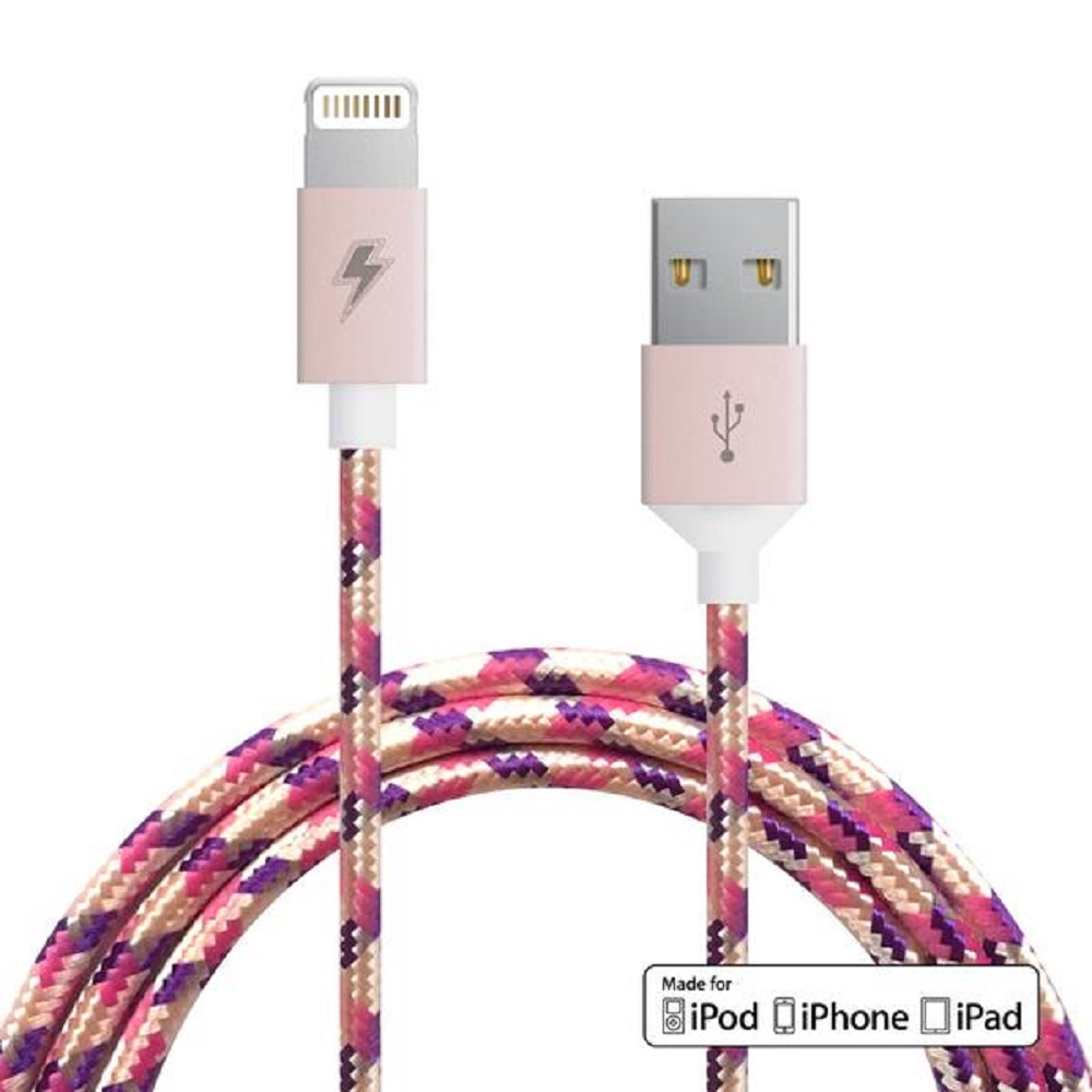 Image For ChargeCords Lightning Cable Purple Rose