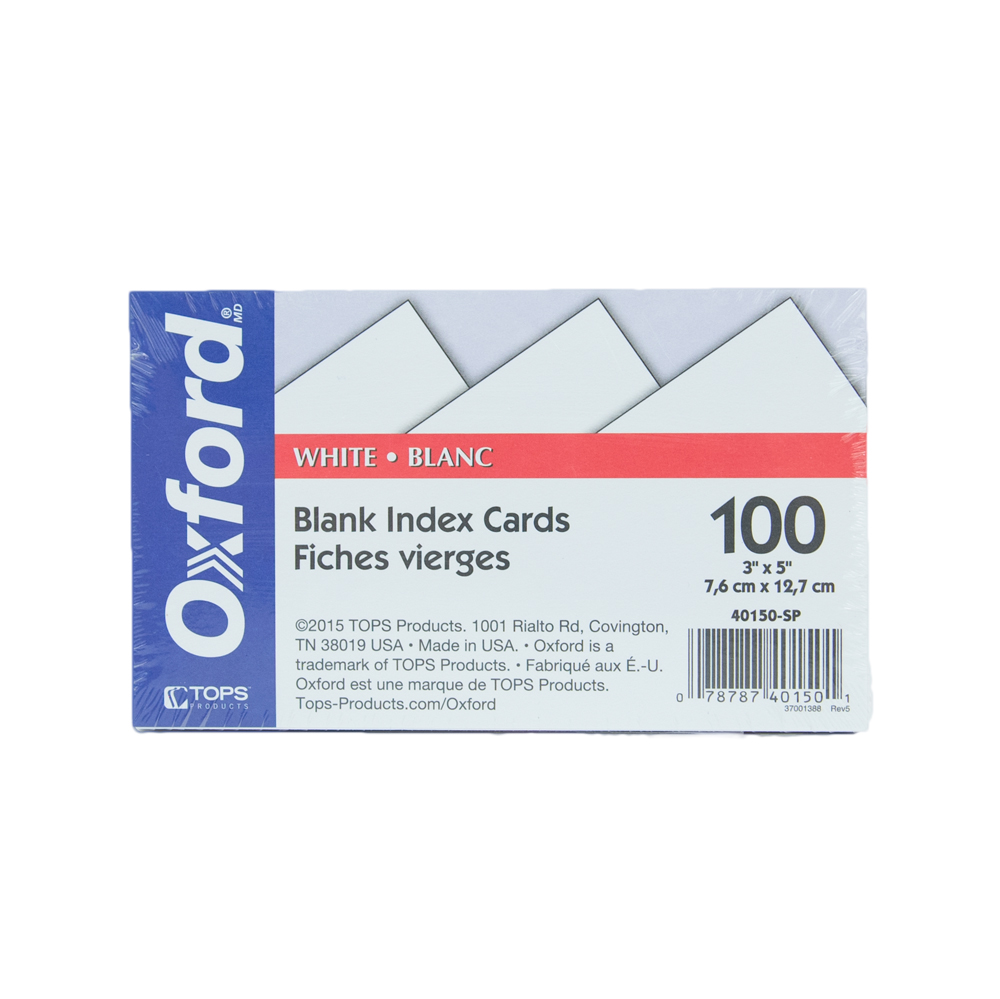 Image For Oxford™ Blank Index Cards