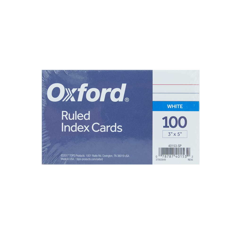 Image For Oxford Ruled Index Cards