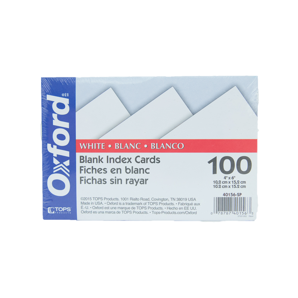 Image For Oxford Blank Index Cards Large