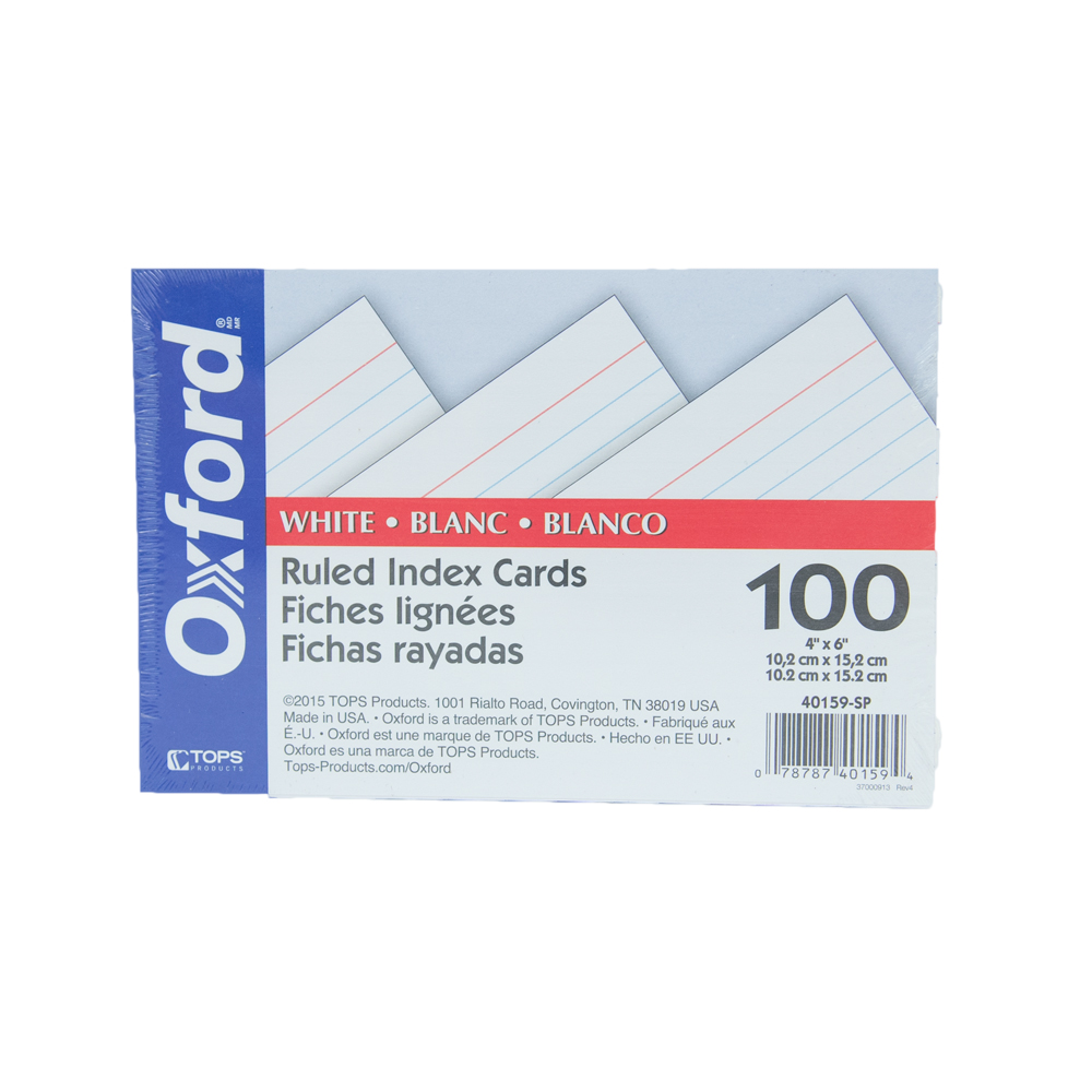 Image For Oxford Ruled Index Cards Large