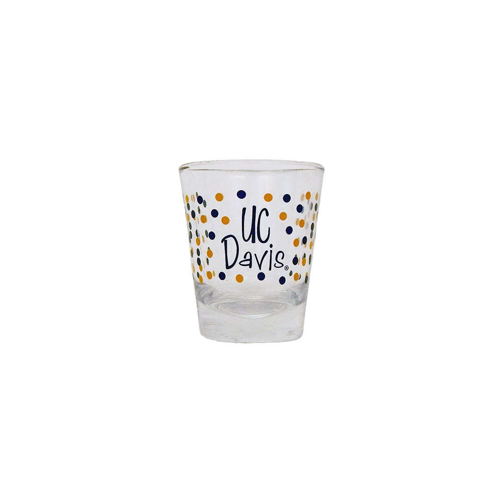 Cover Image For Shot Glass UC Davis Polka Dot