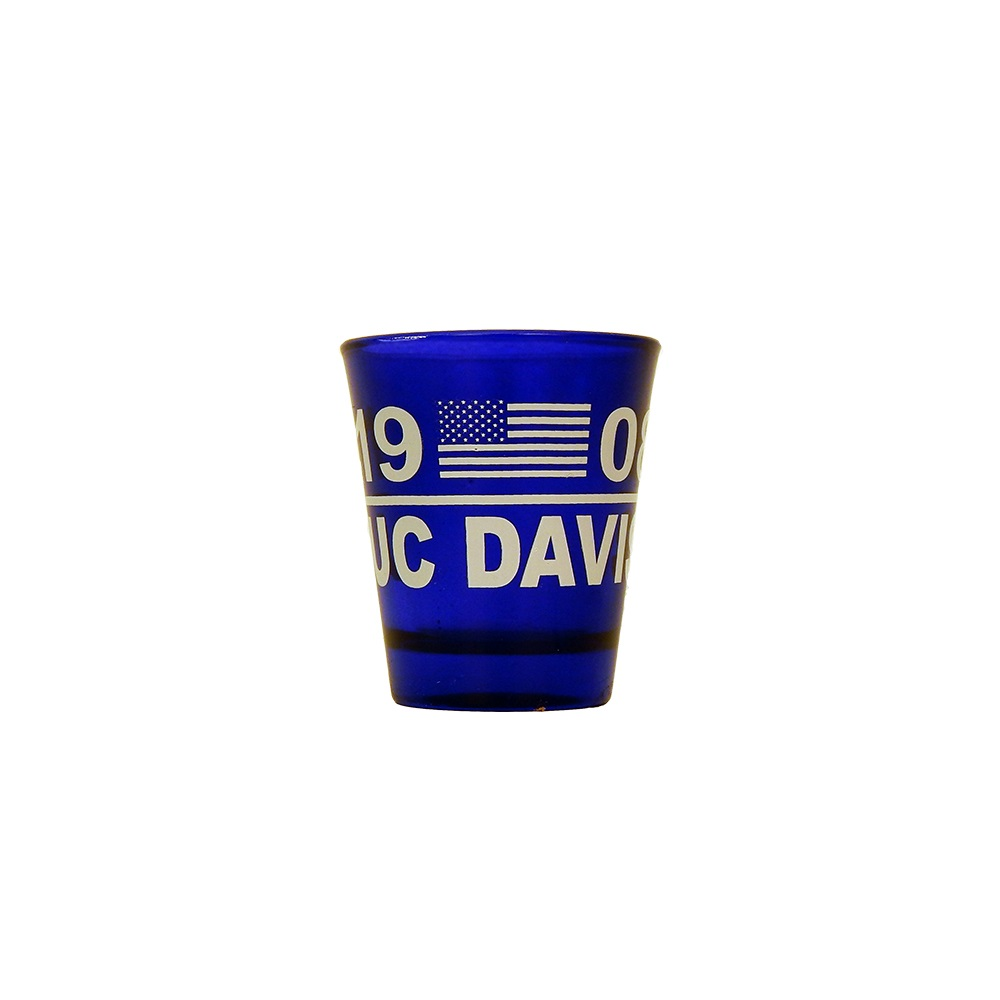 Image For Shot Glass UC Davis Cobalt Blue 1908 Flag
