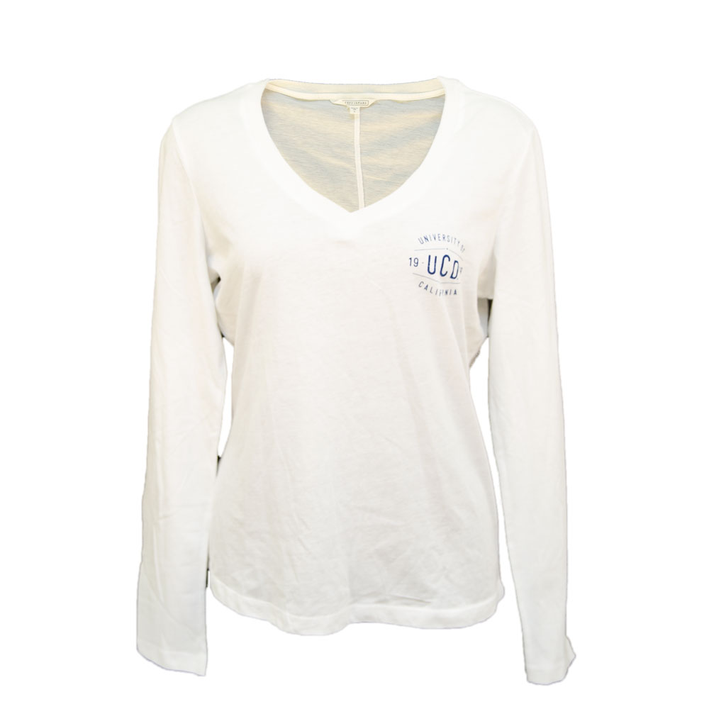 Cover Image For Stepforward UCD Women's V-Neck Longsleeve T-Shirt White