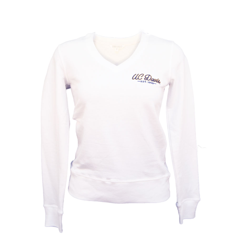 fed875c81ff Image For Stepforward UC Davis Women's V-Neck Sweatshirt White