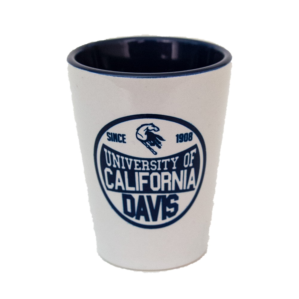 Cover Image For Shot Glass UC Davis Mascot in White/Navy