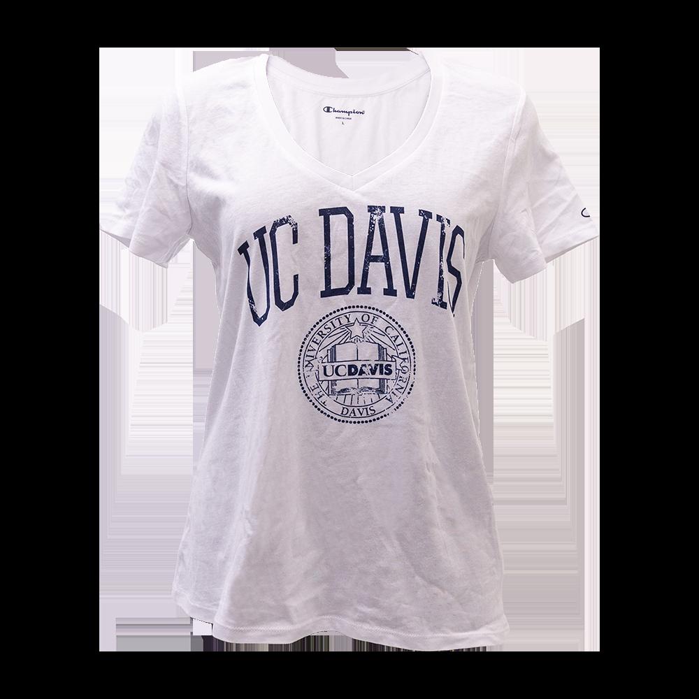 7f511364 Champion® UC Davis Women's V-Neck T-Shirt Faux Seal