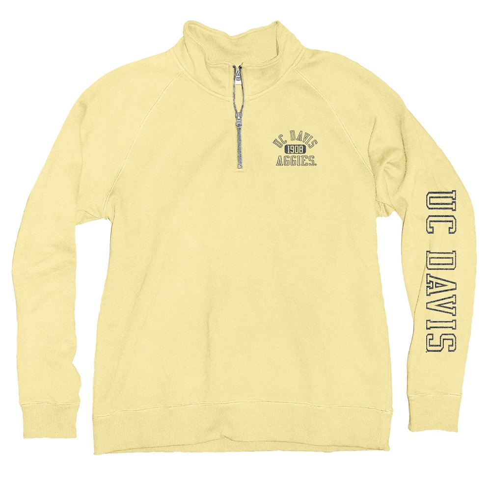 Image For Blue 84 UC Davis Aggies Women's 1/4 Zip Sweatshirt Yellow
