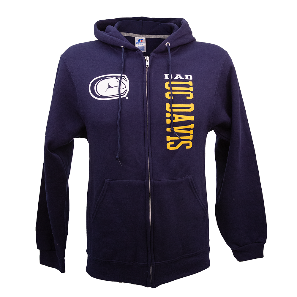 Image For Russell® UC Davis Dad Mascot Hooded Full Zip Sweatshirt Navy