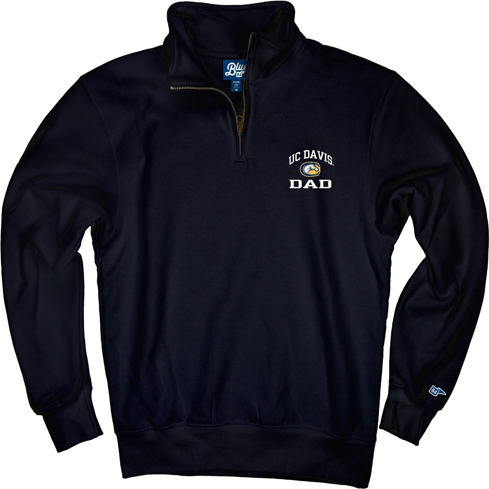 Image For Blue 84 1/4 Zip UC Davis Mascot Dad Sweatshirt Navy
