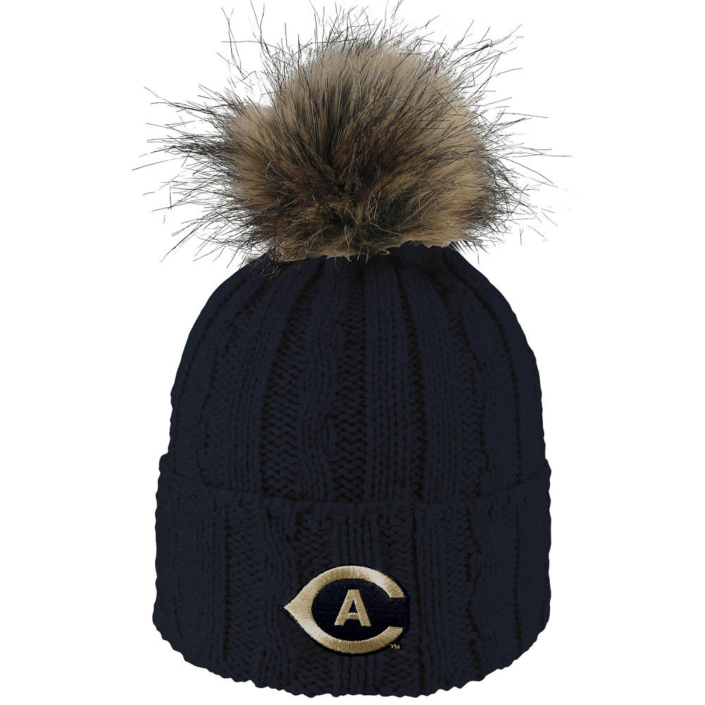 Image For Logofit™ UC Davis Knitted Beanie with Faux Fur Pom