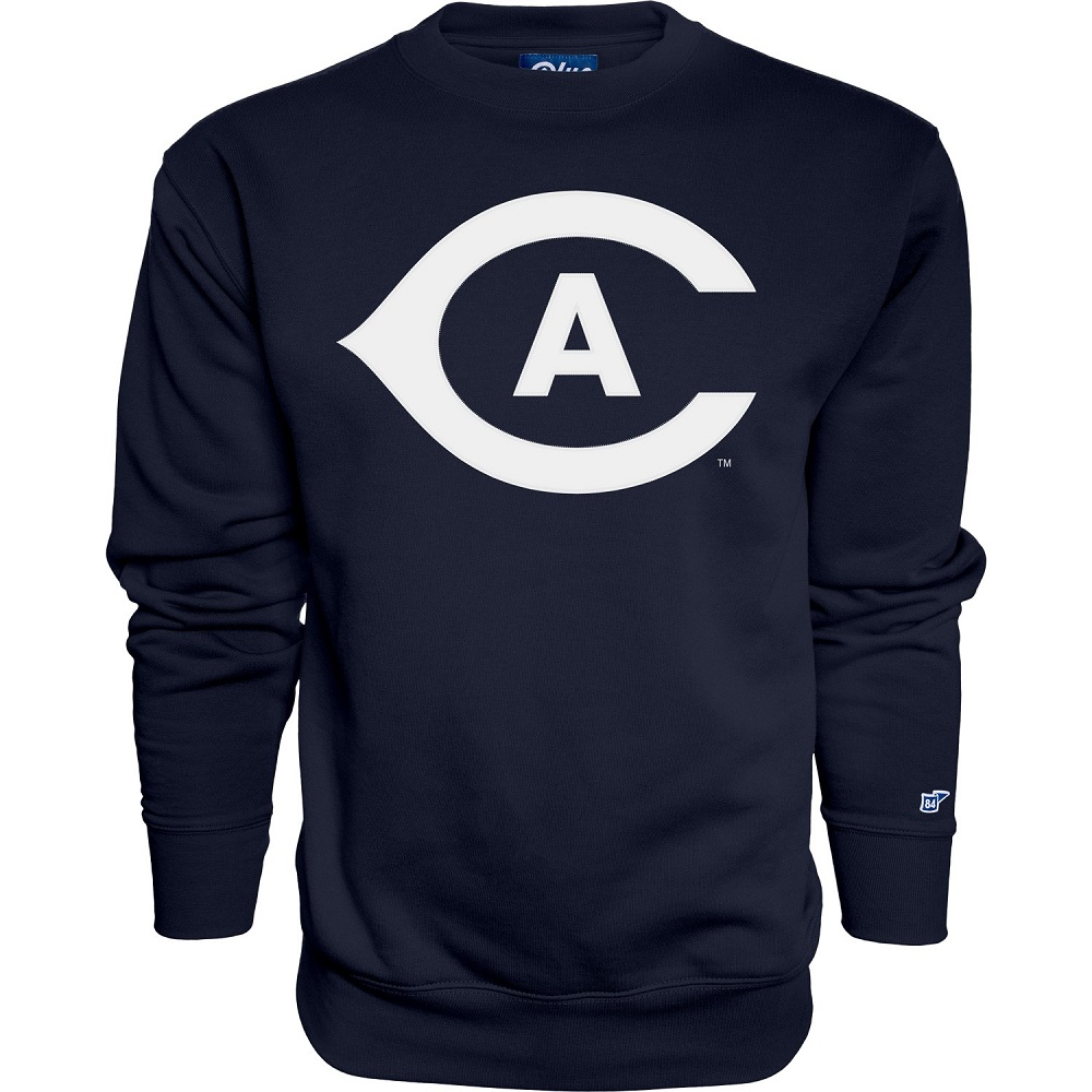 Image For Blue 84 UC Davis White Embroidered Athletic Logo Crew Neck