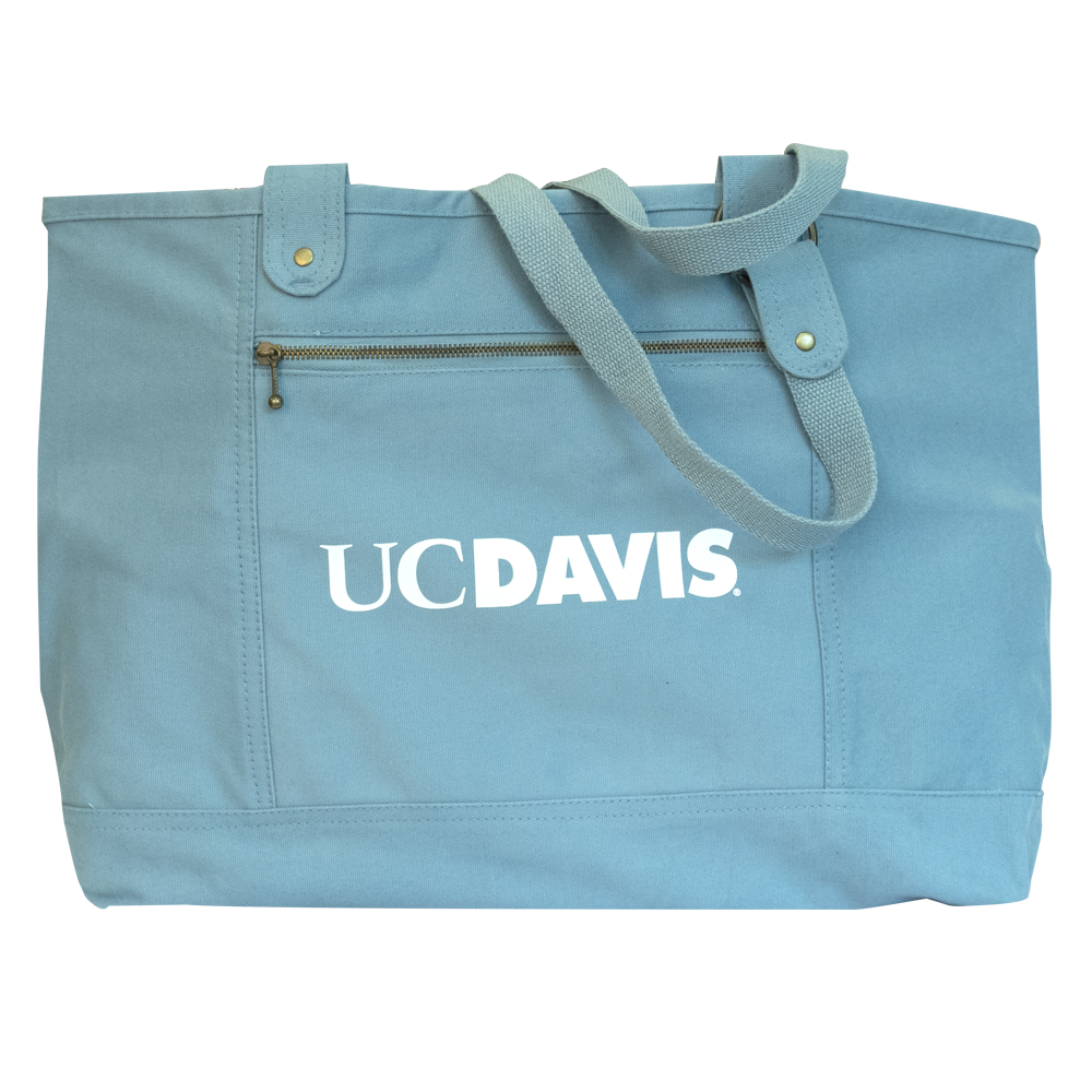 Image For UC Davis 2 Pocket Canvas Tote Bag Stony Teal
