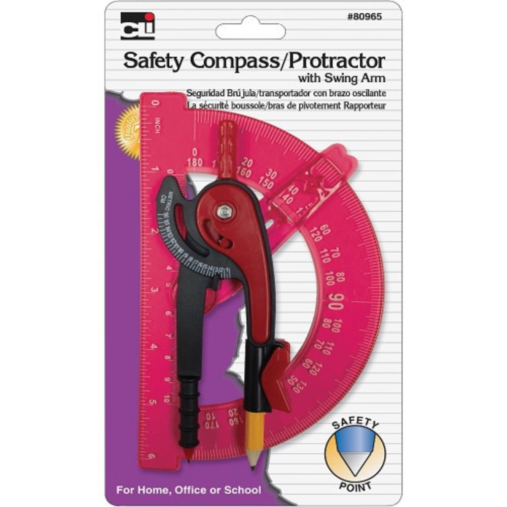 Image For CLi™ Safety Compass/Protractor Asst. Colors