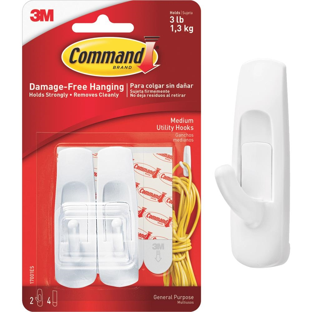 Image For 3M Command Brand Wall Utility Hooks 2pk