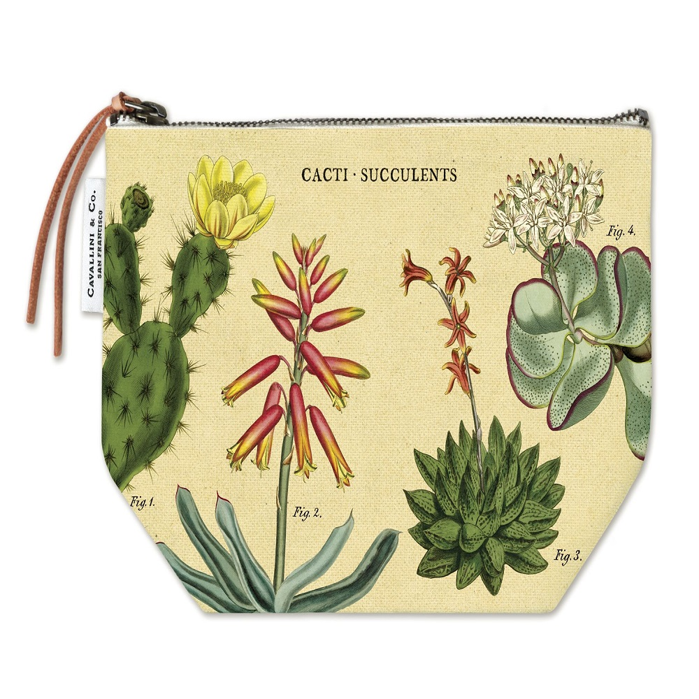 Image For Cavallini & Co. Cacti-Succulents Canvas Pouch