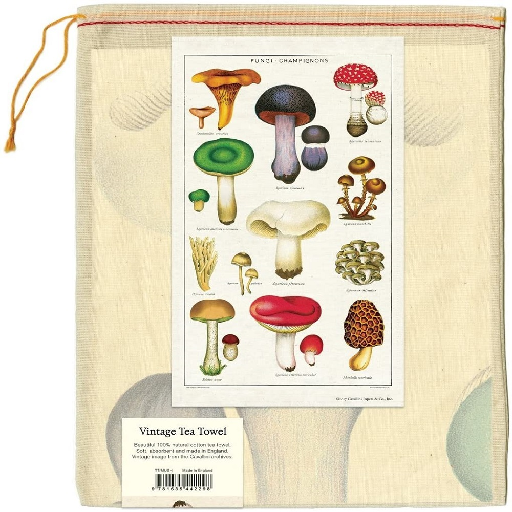 Image For Cavallini & Co. Mushroom Vintage Tea Towel
