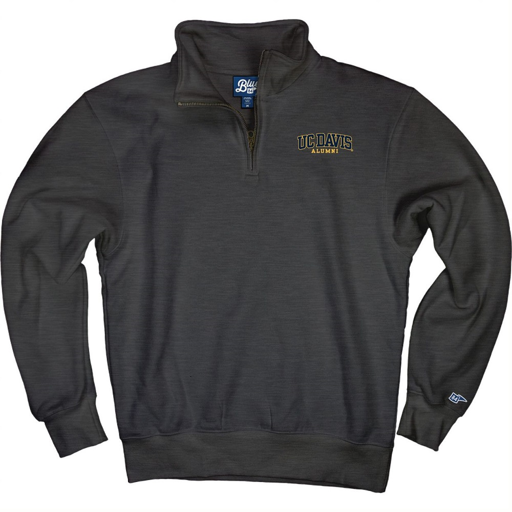 Image For Blue 84 UC Davis Alumni 1/4 Zip Sweatshirt Charcoal