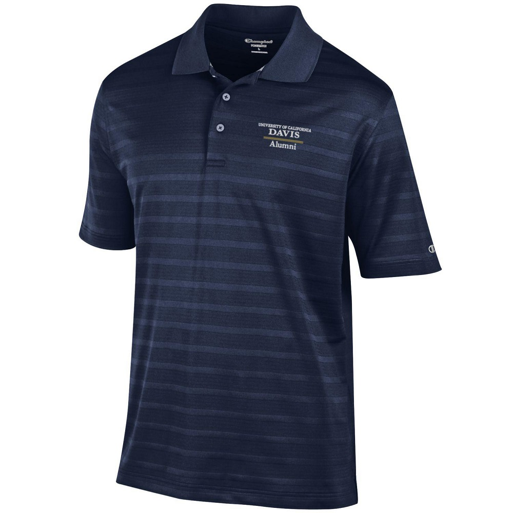 Image For Champion® Athletic UC Davis Alumni Striped Polo Shirt Navy
