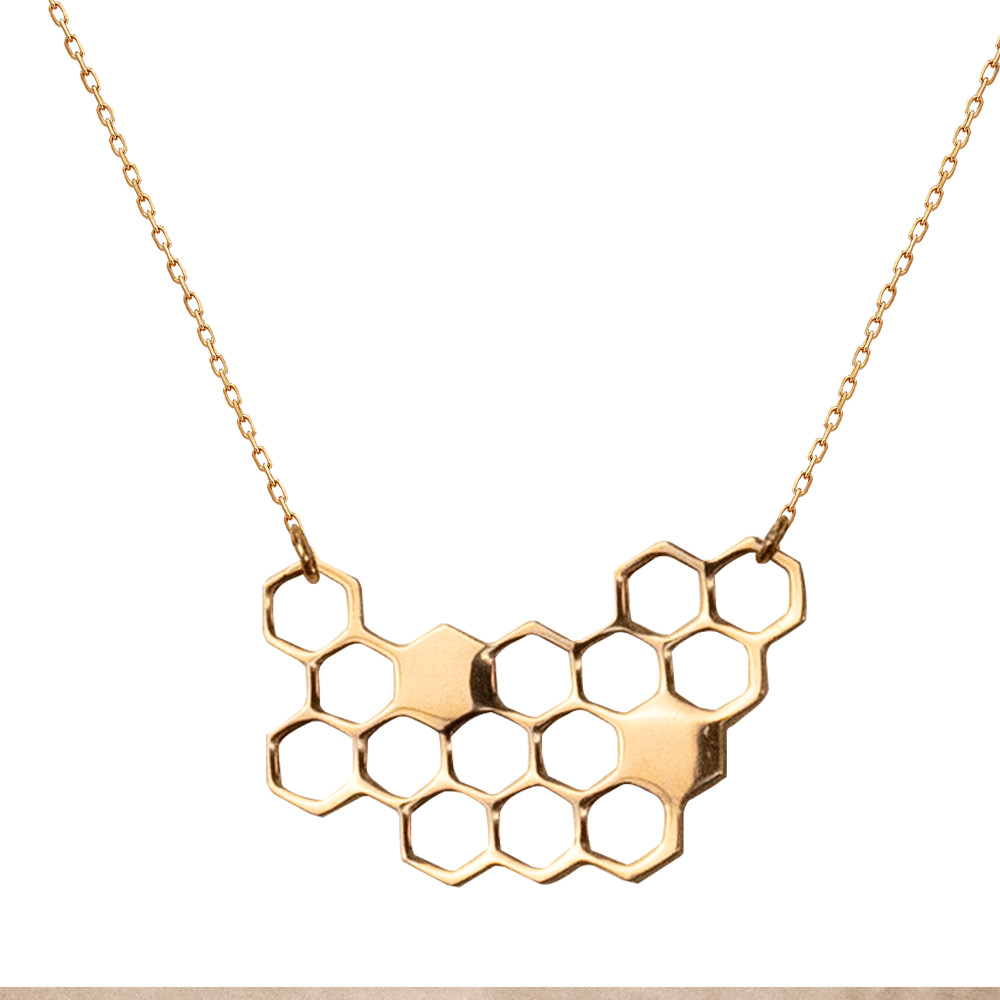 Image For Boutique Academia Honeycomb Necklace Gold