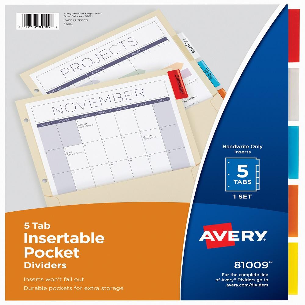 Image For Avery® 5 Tab Insertable Pocket Dividers