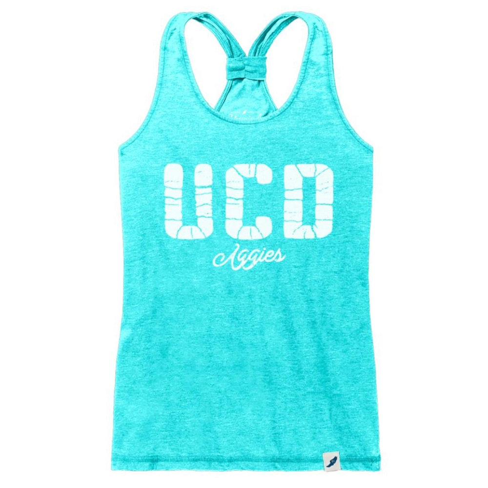 Image For League 91 UCD Aggies Women's Racer Tank Top Tahiti Blue