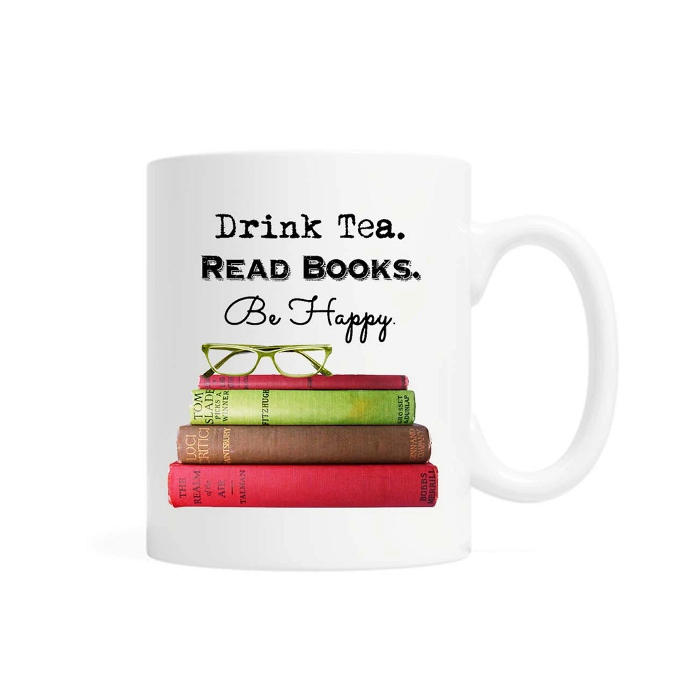 Cover Image For Drink Tea, Read Books, Be Happy Mug