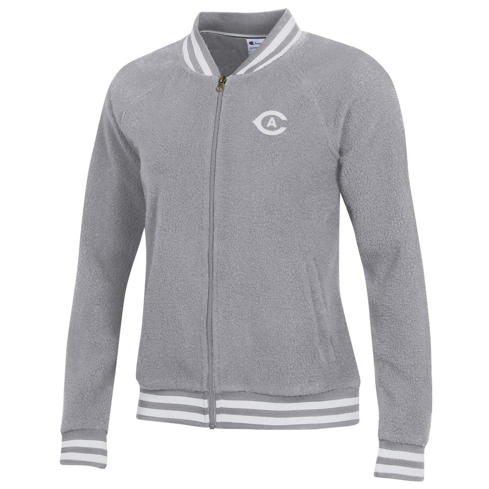 Image For Champion® Women's Gray Sherpa Bomber Jacket Orig. $79.99