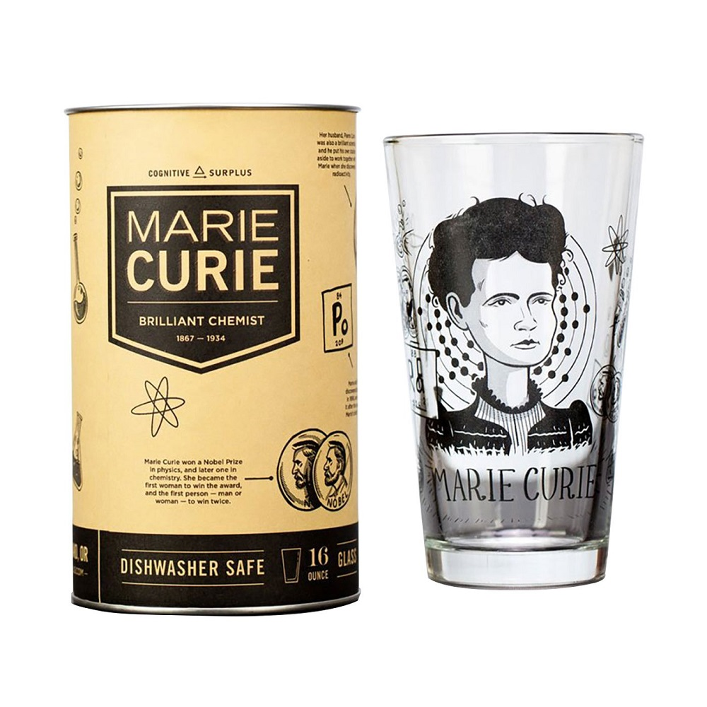 Image For Cognitive Surplus Heroes of Science Marie Curie Pint Glass