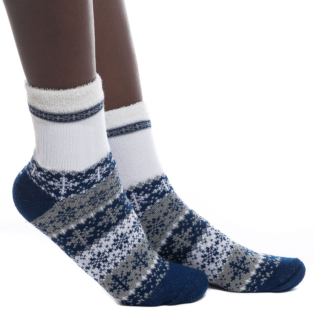 Image For Zoozat® Blue and White Holiday Socks