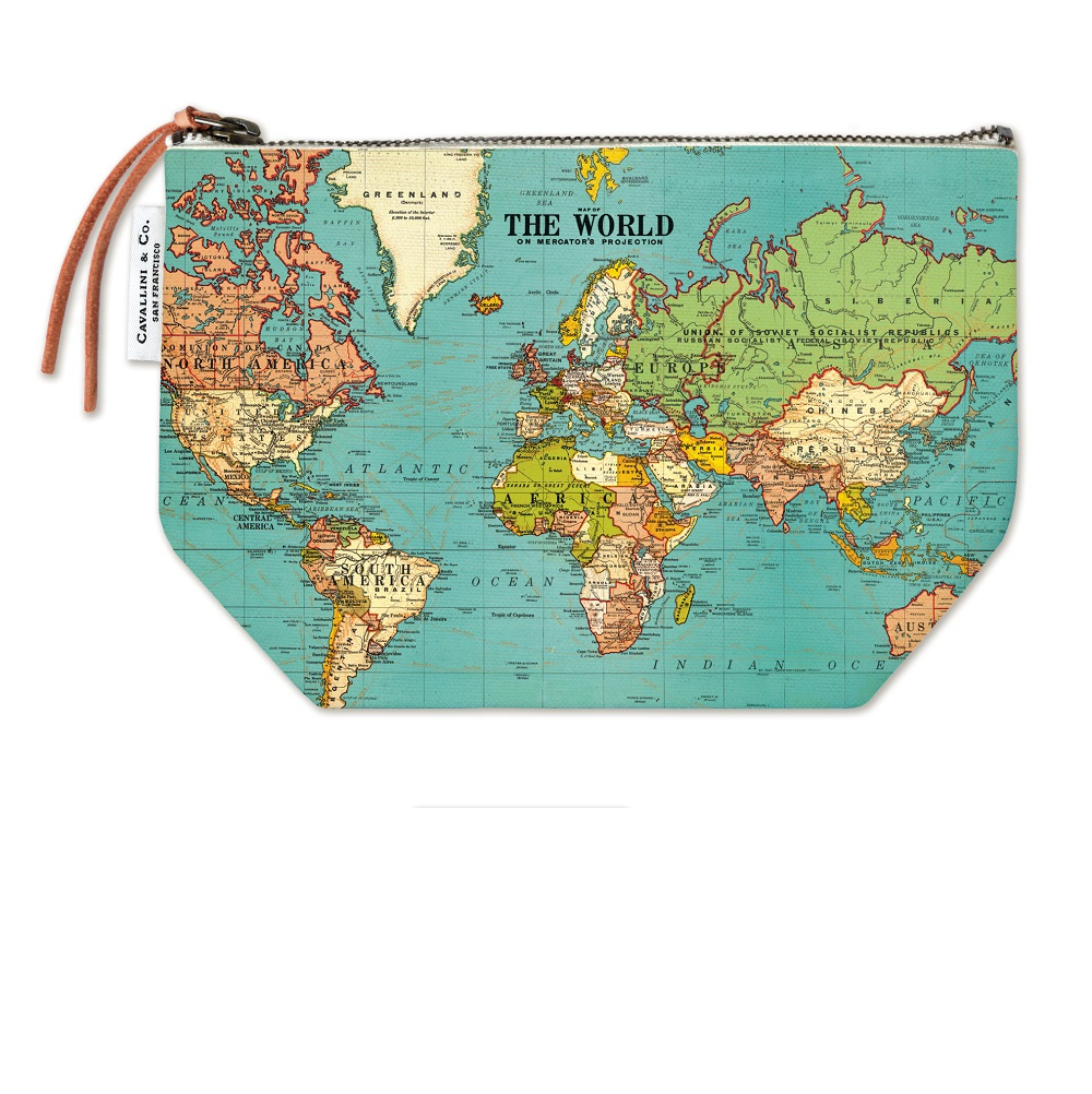 Image For Cavallini & Co. World Map Canvas Pouch