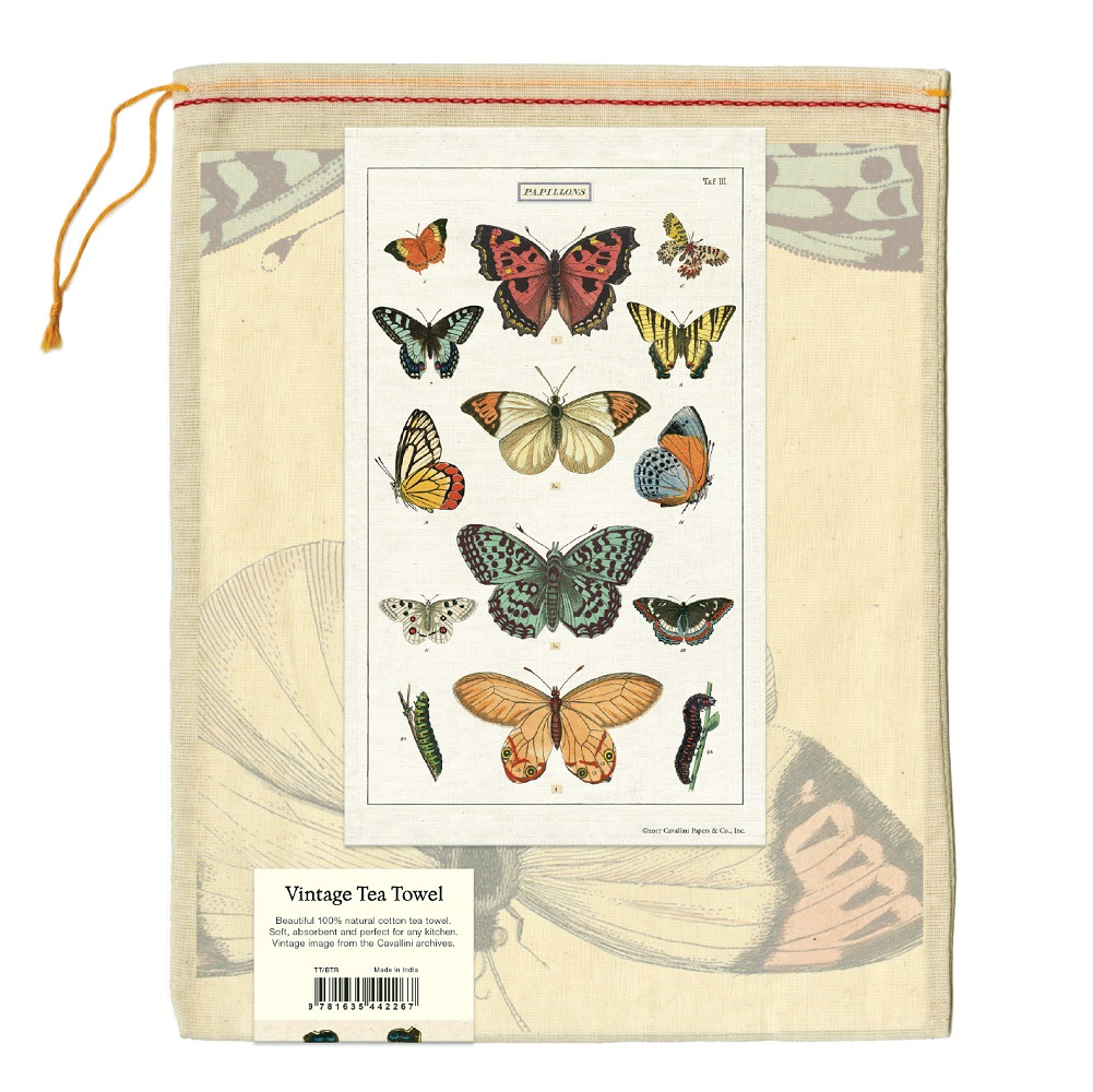 Image For Cavallini & Co. Butterflies Vintage Tea Towel
