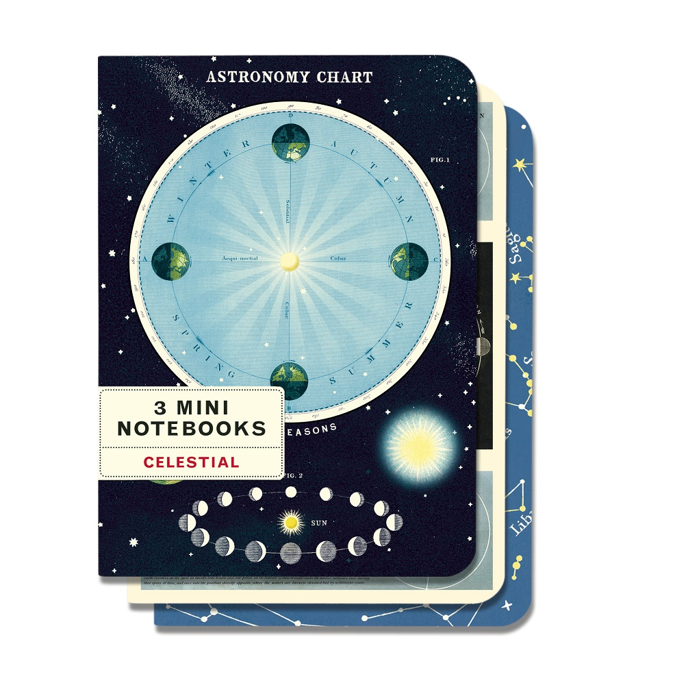 Image For Cavallini & Co. Celestial 3 Mini Notebooks