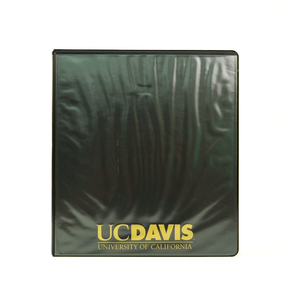 Image For Binder 1 inch Black Clear Pockets UC Davis Font